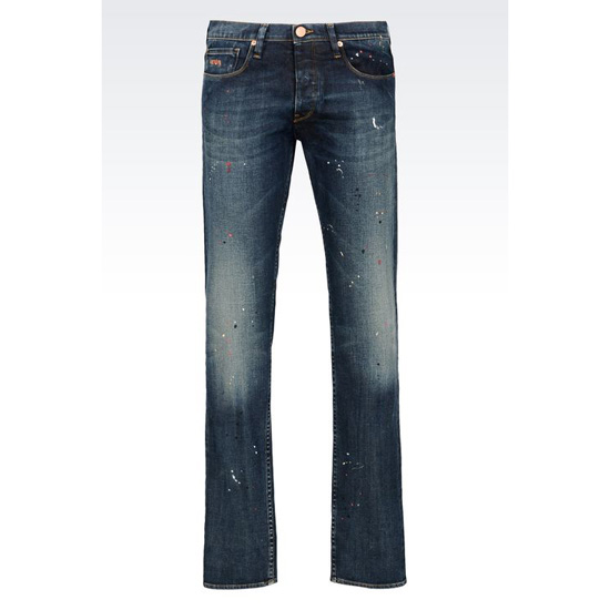 ARMANI REGULAR FIT MEDIUM WASH COLOR SPOTS JEANS Outlet Online
