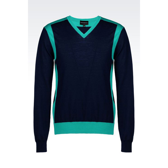 ARMANI TWO-COLOUR SWEATER IN VIRGIN WOOL Outlet Online