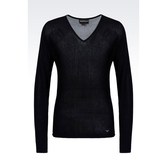 ARMANI V-NECK SWEATER IN STRIPED VISCOSE AND SILK Outlet Online