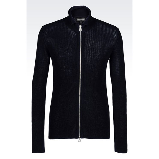 ARMANI FULL ZIP CARDIGAN IN NET STITCH COTTON Outlet Online