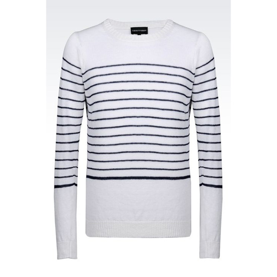 ARMANI SWEATER IN STRIPED STOCKINETTE LINEN Outlet Online