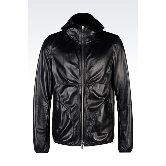 ARMANI BLOUSON IN NAPA LAMBSKIN WITH HOOD Outlet Online