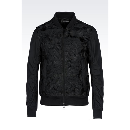 ARMANI EMBROIDERED BOMBER IN TECHNICAL CANVAS Outlet Online