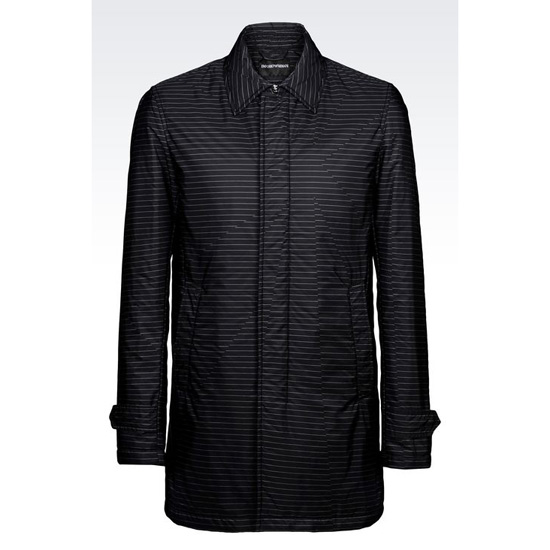 ARMANI COAT IN STRIPED TECHNICAL FABRIC Outlet Online