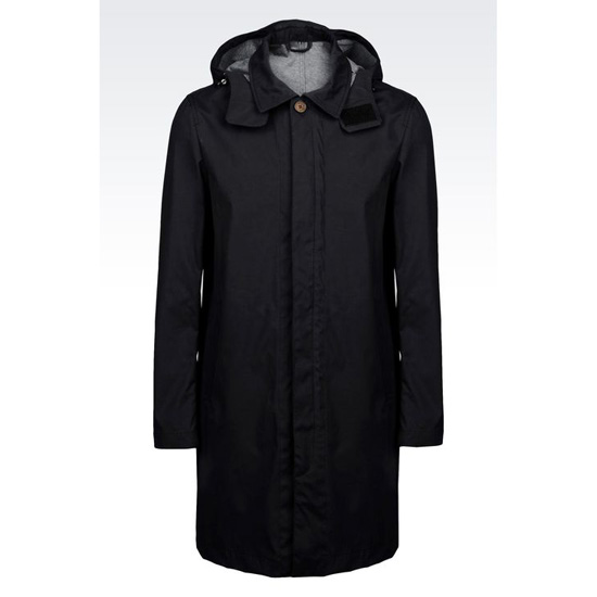 ARMANI TRENCH IN NYLON JERSEY WITH DETACHABLE HOOD Outlet Online