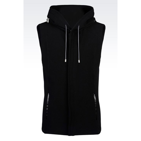 ARMANI ZIP HOODED VEST IN COTTON BLEND OTTOMAN Outlet Online