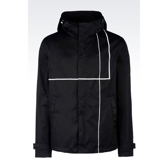 ARMANI RUNWAY COTTON SATIN BLOUSON WITH HOOD Outlet Online