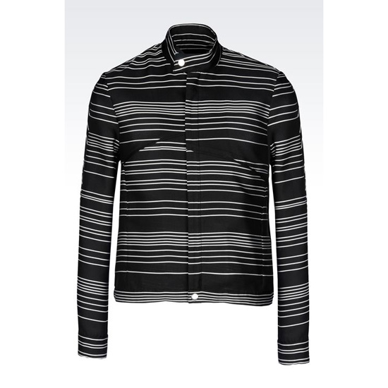 ARMANI RUNWAY BLOUSON IN OPTICAL STRIPE SILK BLEND Outlet Online