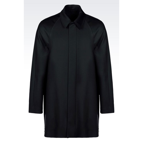 ARMANI WORSTED SINGLE BREASTED WOOL COAT WITH SIDE ZIPS Outlet Online