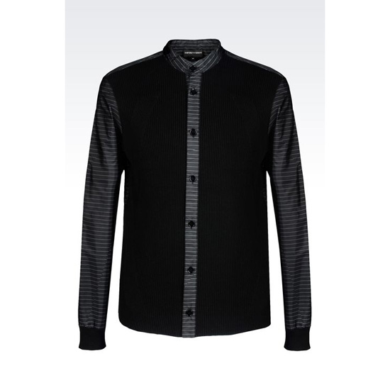 ARMANI SHIRT IN STRIPED KNIT AND COTTON Outlet Online