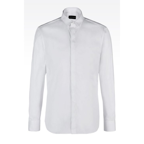 ARMANI STRETCH COTTON POPLIN SHIRT Outlet Online