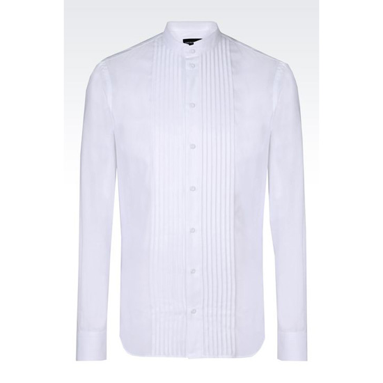 ARMANI COTTON SHIRT WITH MANDARIN COLLAR Outlet Online