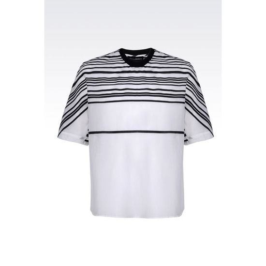 ARMANI RUNWAY T-SHIRT IN STRIPED COTTON AND SILK Outlet Online