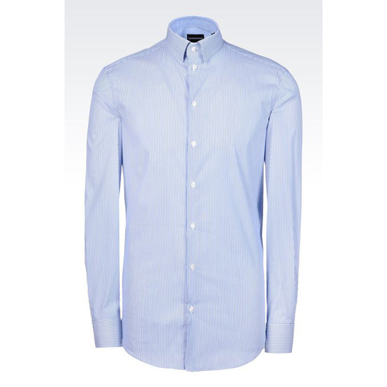 ARMANI REGULAR FIT SHIRT IN STRIPED STRETCH COTTON Outlet Online