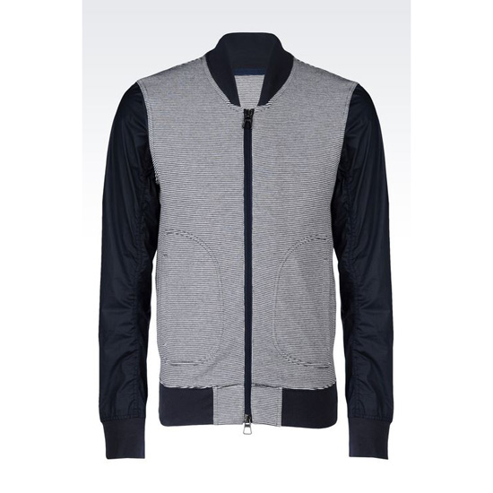 ARMANI BOMBER IN STRIPED INTERLOCK Outlet Online