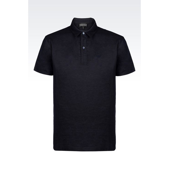 ARMANI POLO SHIRT IN COTTON AND LINEN Outlet Online