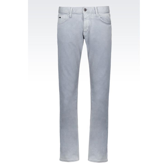 ARMANI SLIM FIT 5 POCKET TROUSERS IN COTTON AND LINEN JERSEY Outlet Online