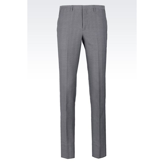ARMANI TROUSERS IN CHEVRON COTTON AND SILK Outlet Online