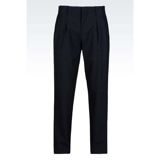 ARMANI TROUSERS IN WOOL AND SEERSUCKER BLEND Outlet Online