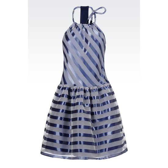 ARMANI RUNWAY DRESS IN ORGANZA EFFECT STRIPED LUREX Outlet Online