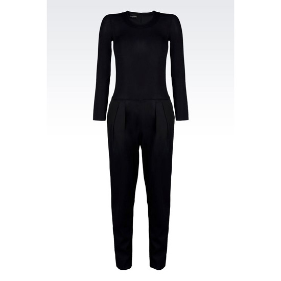 ARMANI CREW NECK JUMPSUIT IN STRETCH FAILLE Outlet Online
