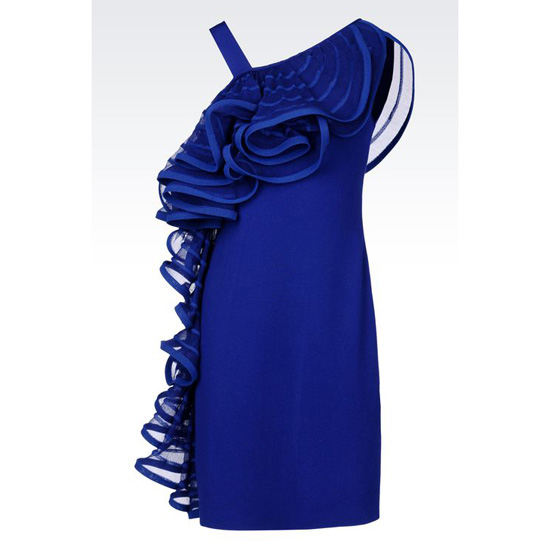 ARMANI RUNWAY DRESS IN VISCOSE BLEND WITH RUFFLE Outlet Online