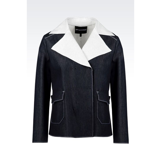 ARMANI DOUBLE-BREASTED BLOUSON IN DENIM AND JERSEY Outlet Online