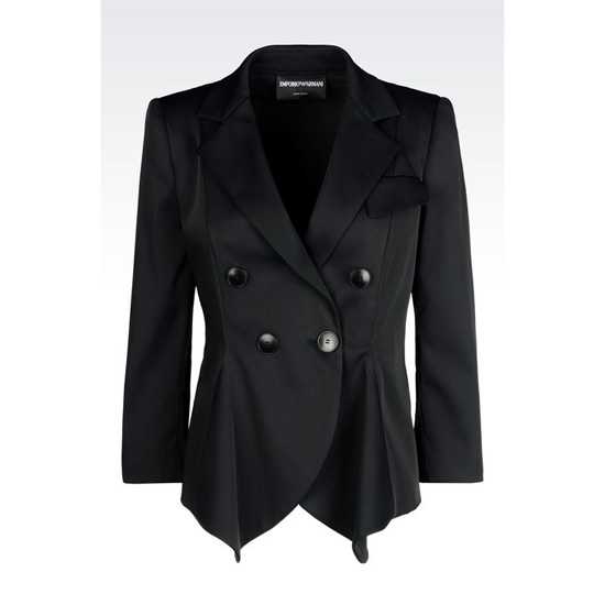 ARMANI DOUBLE-BREASTED JACKET IN STRETCH FAILLE Outlet Online