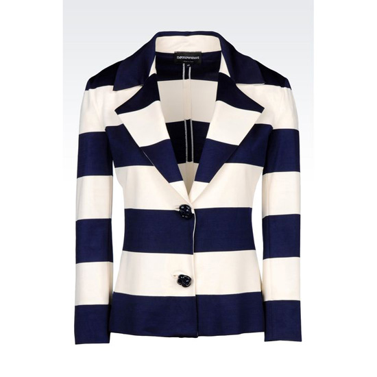 ARMANI JACKET IN STRIPED MILANO RIB Outlet Online