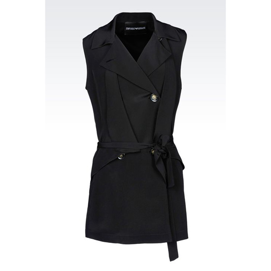 ARMANI LONG DOUBLE-BREASTED GILET IN SILK Outlet Online