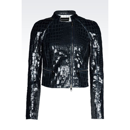 ARMANI SHORT BLOUSON IN CROC PRINT SUEDE WITH VARNISHED EFFECT Outlet Online
