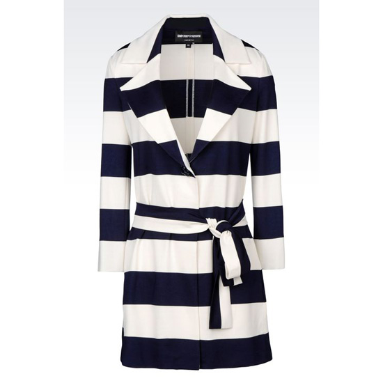 ARMANI COAT IN STRIPED MILANO RIB Outlet Online