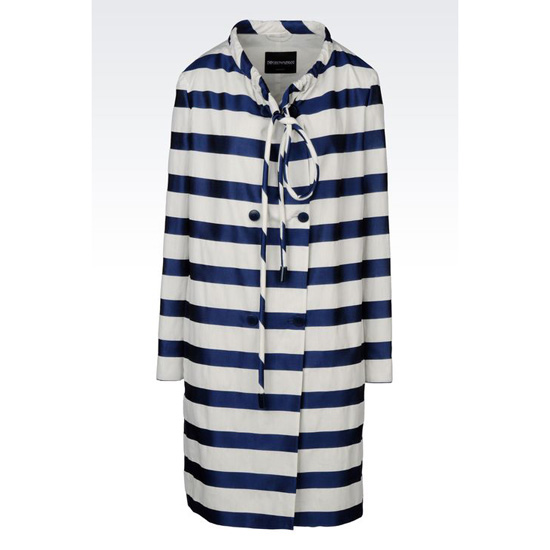 ARMANI RUNWAY COAT IN STRIPED RIB KNIT Outlet Online