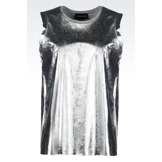ARMANI T-SHIRT IN LAMINATED JERSEY Outlet Online