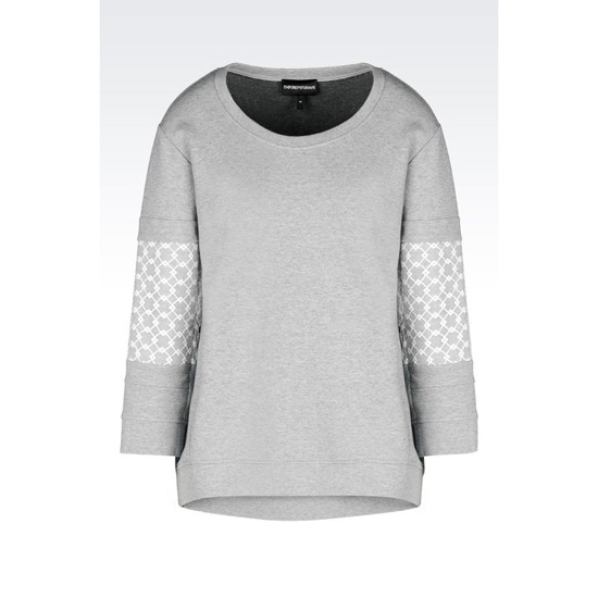 ARMANI CREW NECK SWEATSHIRT WITH THREE-QUARTER SLEEVES Outlet Online