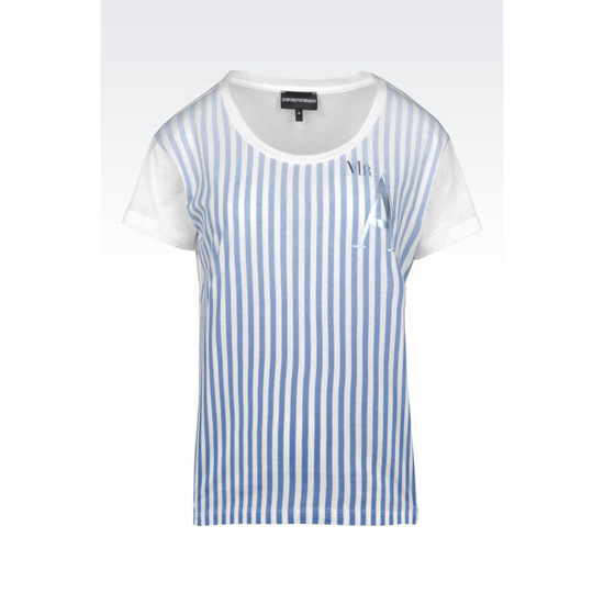ARMANI JERSEY T-SHIRT WITH SHADED STRIPES Outlet Online