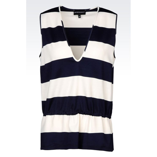 ARMANI TOP IN STRIPED MILANO RIB Outlet Online