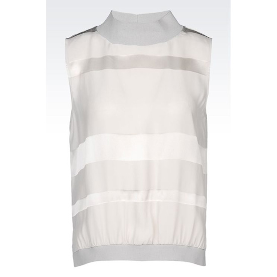 ARMANI STRIPED SILK TOP Outlet Online