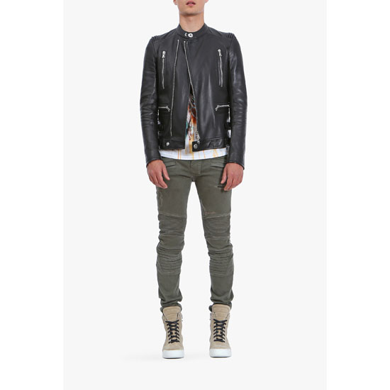 BALMAIN MEN DESTROY STRETCH COTTON DENIM BIKER JEANS Outlet Online
