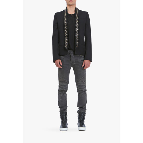 BALMAIN MEN SLIM FIT VINTAGE DENIM BIKER JEANS Outlet Online
