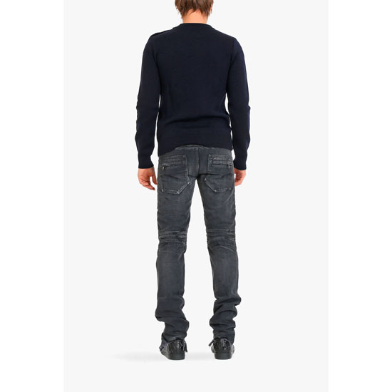 BALMAIN MEN REGULAR FIT WASHED DENIM BIKER JEANS Outlet Online