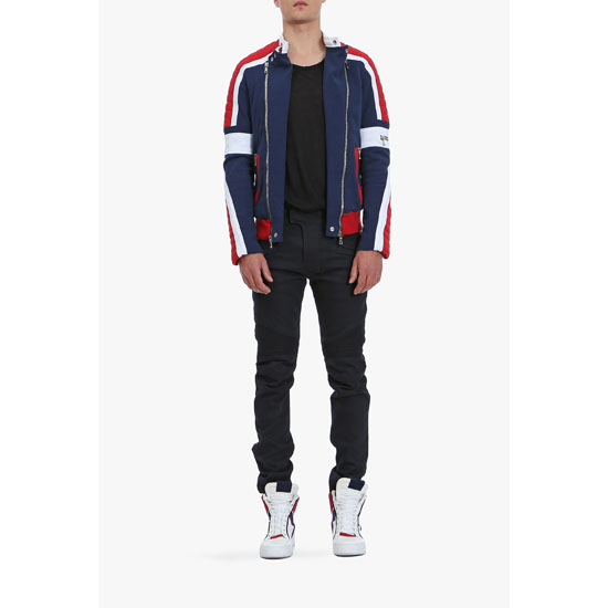 BALMAIN MEN SLIM FIT RAW DENIM BIKER JEANS Outlet Online