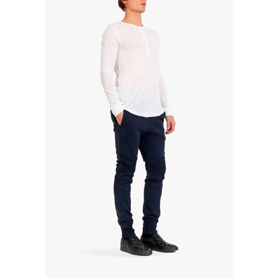 BALMAIN MEN RIBBED-PANELLED SWEATPANTS Outlet Online