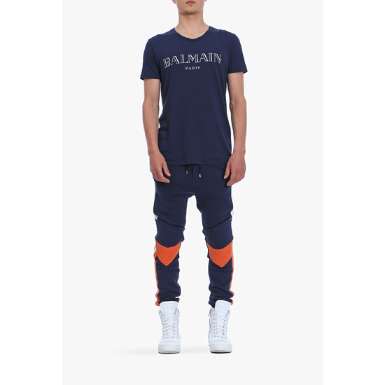 BALMAIN MEN BICOLOR QUILTED COTTON-JERSEY SWEATPANTS Outlet Online