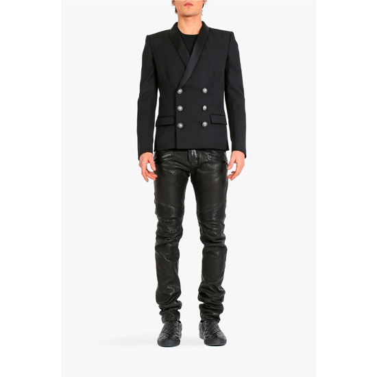 BALMAIN MEN RIBBED LEATHER BIKER PANTS Outlet Online