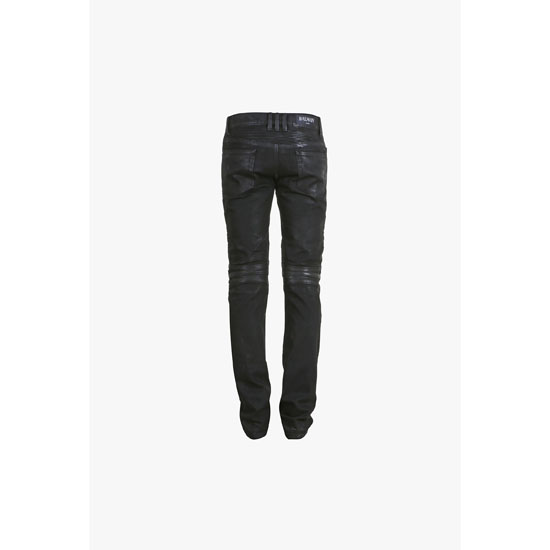 BALMAIN MEN SLIM FIT WAXED DENIM BIKER JEANS Outlet Online