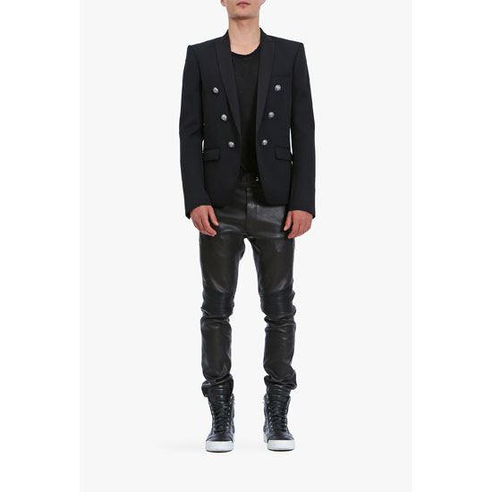 BALMAIN MEN SLIM-FIT LEATHER SWEATPANTS Outlet Online