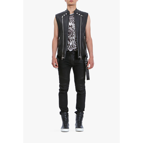 BALMAIN MEN SLEEVELESS LEATHER BIKER JACKET Outlet Online