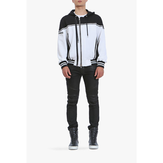 BALMAIN MEN CONTRASTED COTTON-JERSEY BOMBER-INSPIRED HOODIE Outlet Online