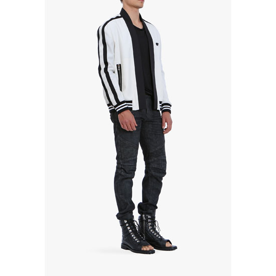 BALMAIN MEN WOOL BOMBER JACKET WITH SHAWL COLLAR Outlet Online